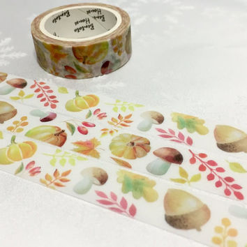 Chestnut mushroom washi tape 7M x 1.5cm Pine nuts washi tape fall forest Chestnut plant deco sticker tape lovely kamoi tape planner gift