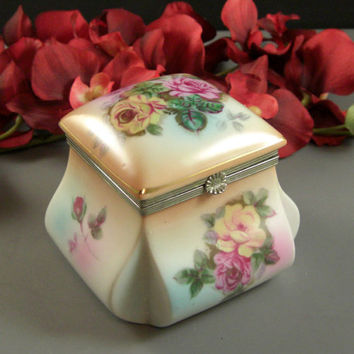 Porcelain Jewelry Trinket Wedding Ring Box // Handpainted Roses // from Successionary
