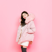 Faux-Fur Trim Hooded Puffer Jacket