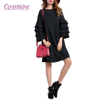 Coromose Women Black Mini Shift Dress Layered Ruffled Three Quarter Bell Flare Sleeve Loose Casual Streetwear 2017 Autumn Fall