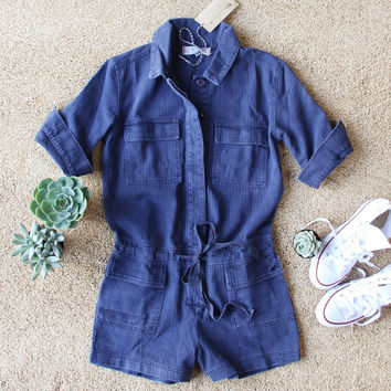Sweetly Olive Romper in Navy