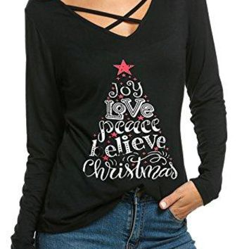 SimpleFun Womens Ugly Christmas Xmas Reindeer Pullover Tunic Shirts Tops