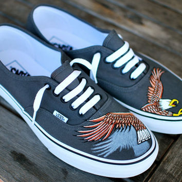 Hand Painted Soaring Eagle Vans Authentic Shoes