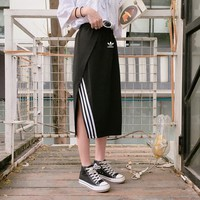 """Adidas"" Women Sport Casual Fashion Stripe Split Irregular Skirt"
