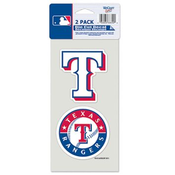 "TEXAS RANGERS 4""X4"" DIE CUT DECAL 2-PACK CAR HOME BRAND NEW WINCRAFT"