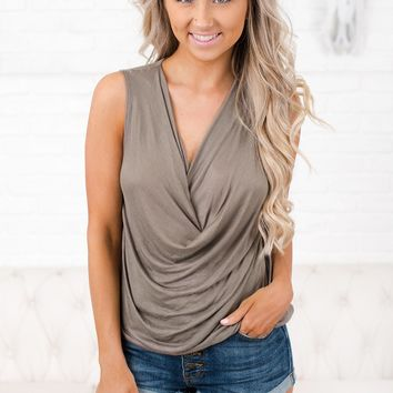 Nothing To Lose Cowl Neck Tank Top (Vintage Olive)
