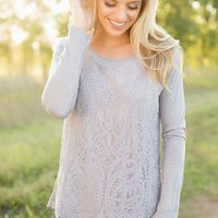 The Perfect Occasion Lace Top in Grey