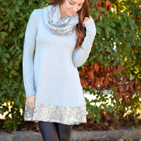 Dash of Sequins w/ Removable Scarf Dress - Grey