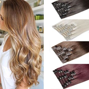100% Real Natural 8 Pieces Clip In Ins as Human Soft Hair Extensions Full Head