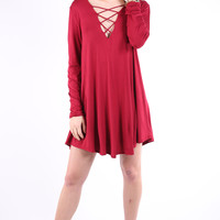 Lovely Lace Up Dress - Red