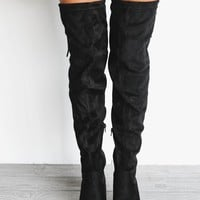 Take Me Out Black Suede Knee High Boots