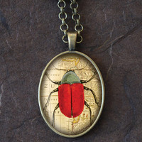 Red Beetle Pendant, Vintage Entomology Necklace, Oval Charm (1521B)