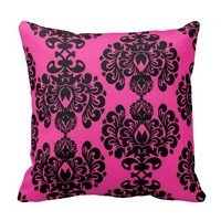 Hot Pink And Black Damask Throw Pillow