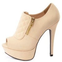 Qupid Quilted Peep Toe Booties by Charlotte Russe - Beige