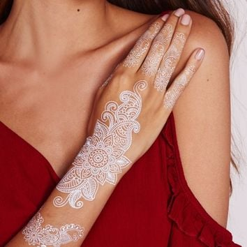 Missguided - White Henna Hand Tattoo