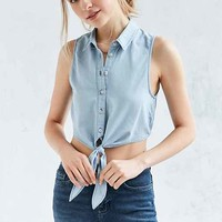BDG Elie Tie-Front Button-Down Blouse