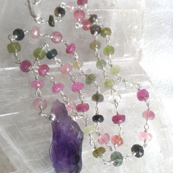 Watermelon Tourmaline and Amethyst Solid Sterling Silver ombre beaded Raw gemstone crystal, multi color pink green purple layering chain