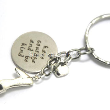12pcs Have courage and be kind keychain Princess high heeled shoe Inspired charm keyrings silver tone