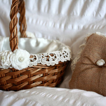 Flower Girl Basket and Ring bearer pillow matching set with fabric flowers and vintage lace