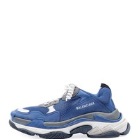 Balenciaga Men's Triple S Mesh & Leather Sneaker, Blue/Gray