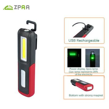 Portable COB LED Flashlight Magnetic Work Light USB Rechargeable Lantern Power display Hanging Torch Lamp Night Lighting