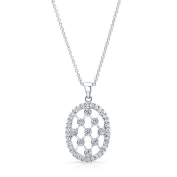 "Platinum diamond fashion pendant 0.70 ctw G color VS2 clarity diamonds with 16"" platinum necklace"