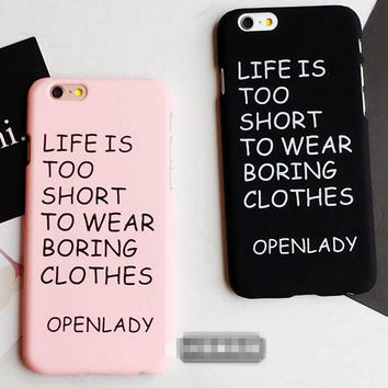 Pink Black Solid Case Cover for iPhone 6 6s Plus Gift 24