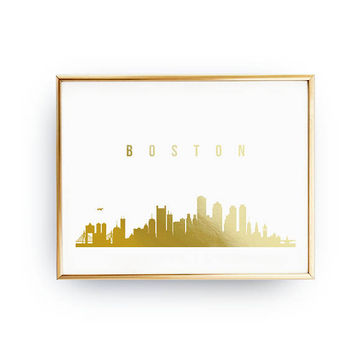 Boston Cityscape, Boston Skyline, Gold Skyline Art, Boston Print, Real Gold Foil Print, Home Decor, Massachusetts, USA Print, USA Cityscape