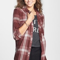 Rubbish® Plaid Western Shirt (Juniors) | Nordstrom