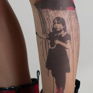 Tattoo-socks, colorful Girl with Umbrella - Banksy realistic looking tattoo pantyhose, tattoo tights, tattoo socks