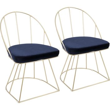Canary Contemporary Dining / Accent Chairs with Blue Velvet, Gold (Set of 2)