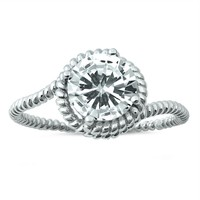 .925 Sterling Silver 2.5 Carat Solitaire Rope Engagement Ring Size 5-10