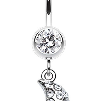 Moon Beam Belly Button Ring