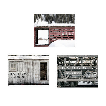 Train Photographs, Boxcar Pictures, Wall Art Gallery, Rustic Photography, Red and Gray, Vintage Style, Set of 3, Discounted Prints