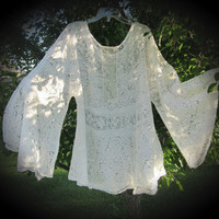 Gypsy lace tunic top boho cover-up  vintage upcycled original M L XL