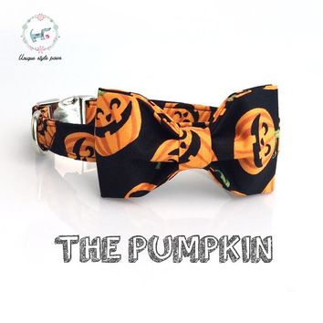 Halloween pumpkin  collar and leash set with bow tie   dog &cat necklace and dog leash  for pet gift
