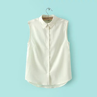 Chiffon Sleeveless Blouses Lapel Vest Shirts Elegant Work Wear Clothing Blusa Tops Summer Women Shirts
