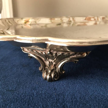 Ornate Butlers Tray, Large Footed Silver Tray, Rectangular Silver Tray with Handles, Vintage Vanity Tray