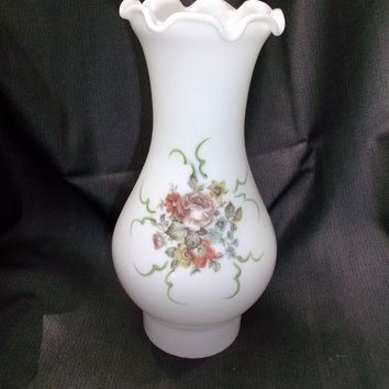 Milk Glass Floral Chimney  Oil Kerosene Lamp Pie Crust Ruffled Edge Vintage Shade