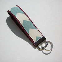 Key FOB / KeyChain / Wristlet  - natural blue Chevron - Zig Zag on neon maroon