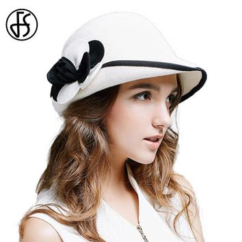 FS 2017 Winter White 100% Austrlian Wool Felt Bowler Fedora Hat Elegant Ladies Wide Brim Church Flower Cap Women Cloche Hats