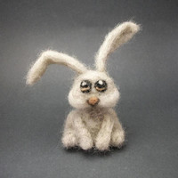 Needle Felted Long Eared Gray Rabbit - Small Needle Felt Bunny Animal - Light Grey Fuzzy Wool Needlefelt Woodland Creature Soft Sculpture