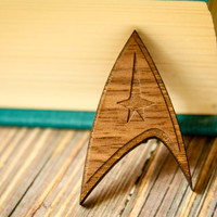Star Trek Brooch, Laser Wood Cut