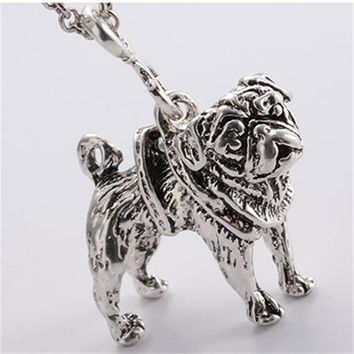 RONGQING 10 Pcs/lot Vintage Silver Pug Dog Necklace Trendy Antique Silver Animal Choker Necklace Women Fashion Jewlery