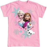 Pink Disney Frozen Sisters Elsa Anna & Olaf Girl's T-Shirts,  XS 4/5