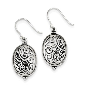 Sterling Silver Antique Oval Yin Yang Dangle Earrings QE3434