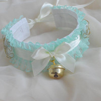 Minty gold - fairy kei pastel kawaii cute lolita kitten pet ddlg play - ivory yellow and green collar with golden bell