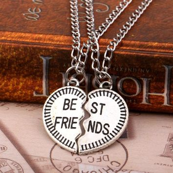 2PC Silver Plated Heart Best Friends Pendant Necklace