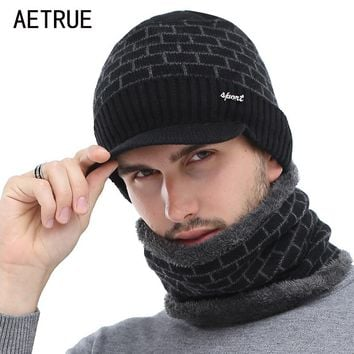 AETRUE Winter Hat Skullies Beanies Men Women Knitted Hat Scarf Winter Caps Mask Balaclava Bonnet Cap Wool Fur Beanies Hats