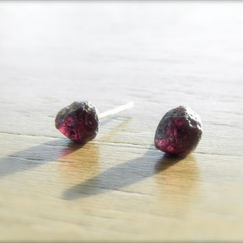 Rough Gemstone Garnet Stud Earrings - Natural Garnet on Surgical Steel Post